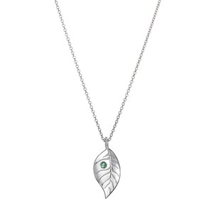 Silver leaf pendant with ethically sourced green sapphire silver leaf pendant with ethically sourced green sapphire aloadofball Image collections
